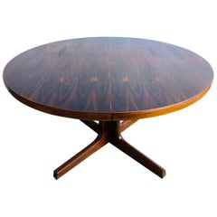 1960s Mid Century AM Mobler Danish Rosewood Extending Oval Pedestal Dining Table