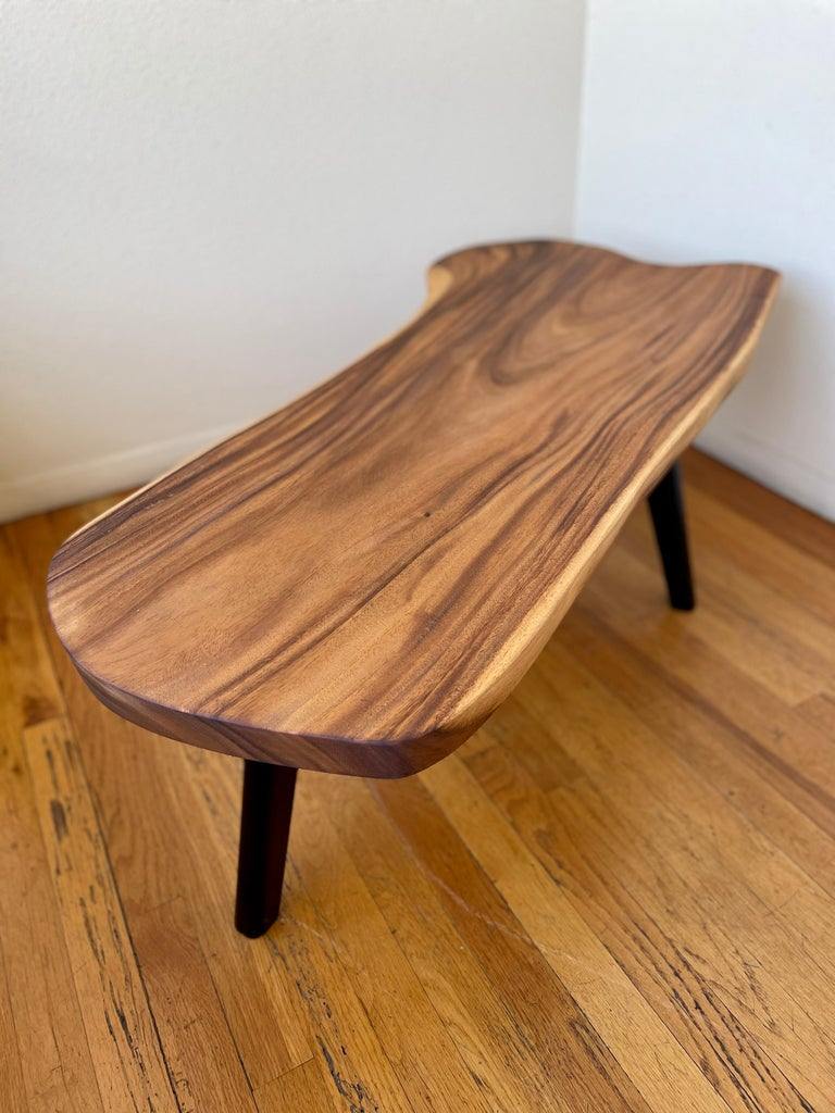 1960s Mid-Century American Freeform Solid Monkey Pod Wood Coffee Table For Sale 1