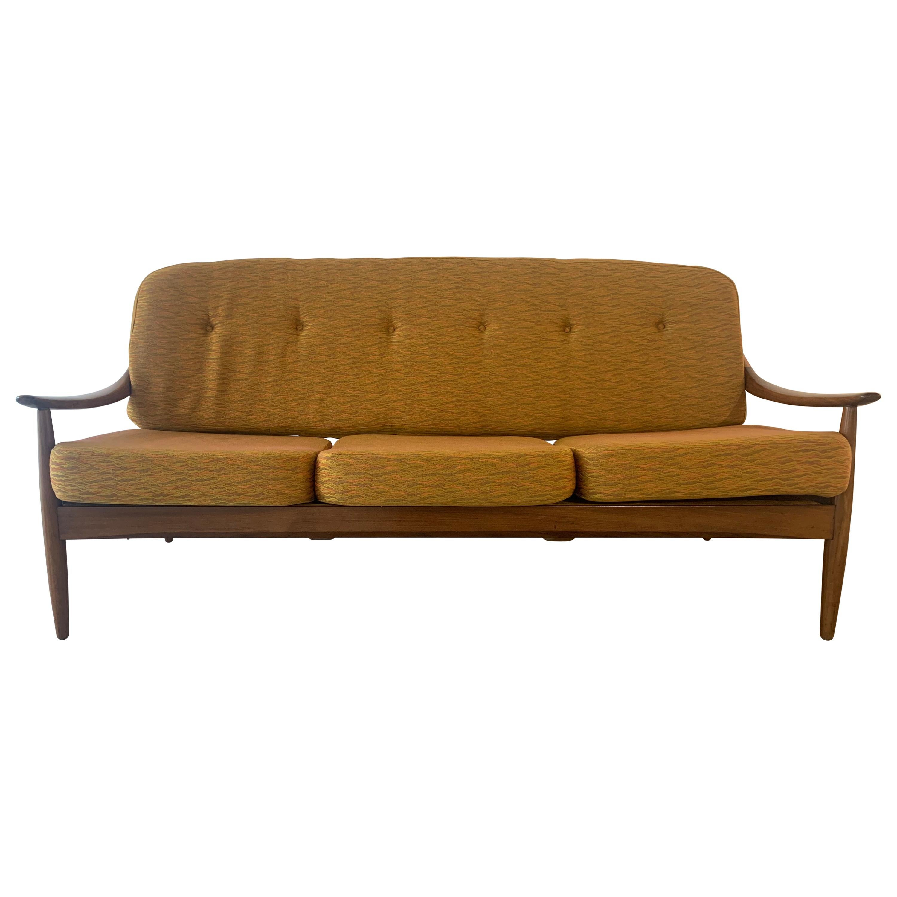 1960s Midcentury British Greaves & Thomas Solid Teak Bentwood Sofa Couch