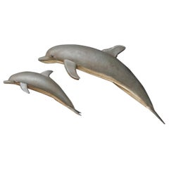 1960s Midcentury French Painted Tin Dolphins Wall Decoration Advertisement Sign