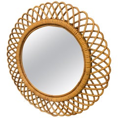1960s Mid-Century Modern Bamboo Italian Wall Mirror