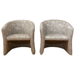 1960s Mid-Century Modern Barrel Chairs, a Pair