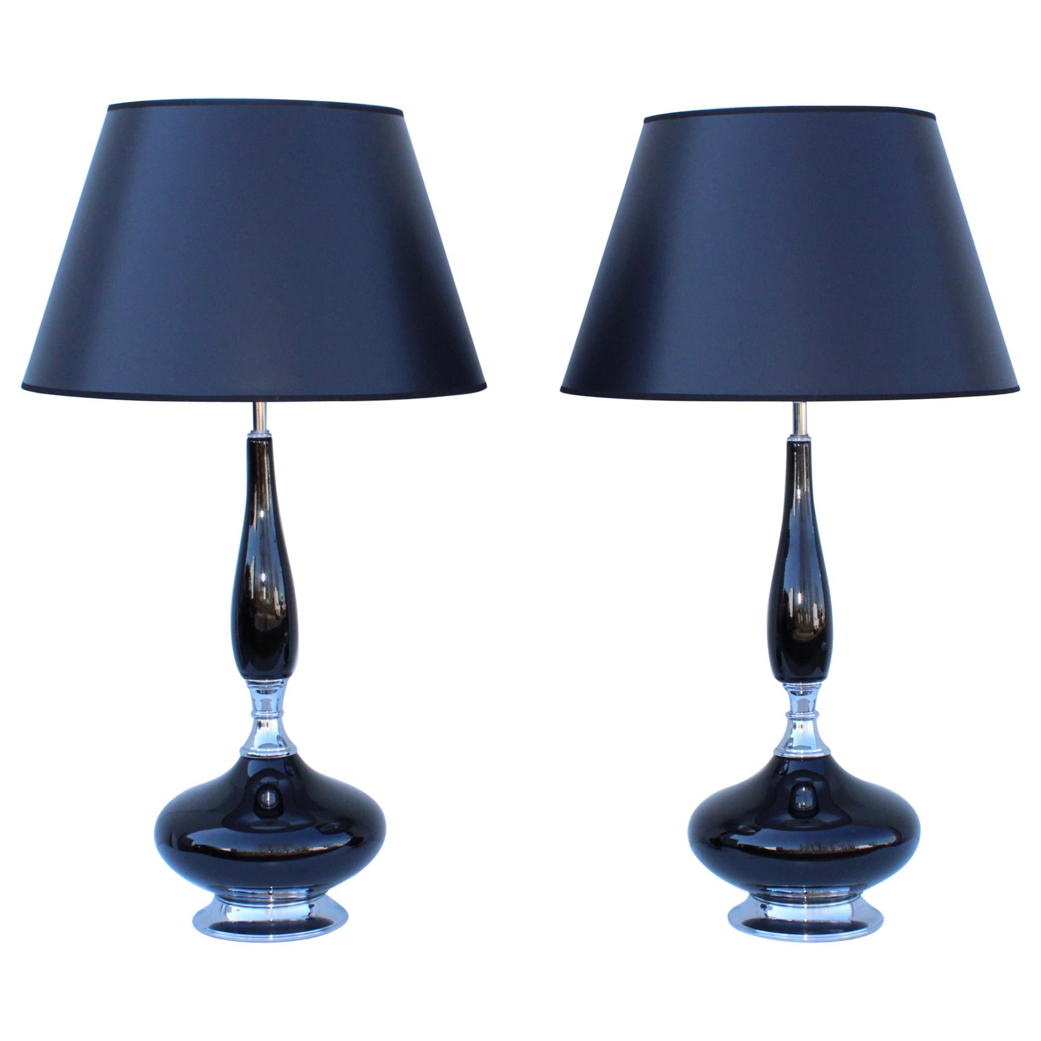 1960's Mid-Century Modern Black Ceramic and Chrome Table Lamps