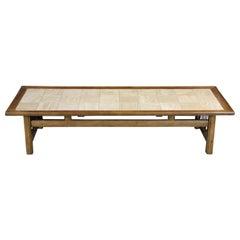 1960s Mid-Century Modern Ceramic Tiled Walnut Rectangular Coffee Table MCM