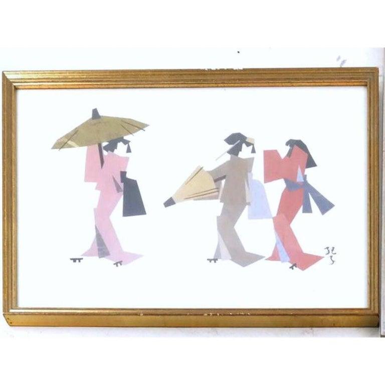 Mid-Century Modern Ukiyo-E Japonisme Geisha Paper Cubist Collage, Kimono, Mid-Century Mixed Media  For Sale