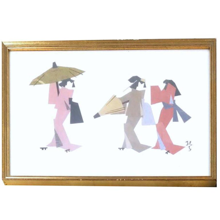 American Ukiyo-E Japonisme Geisha Paper Cubist Collage, Kimono, Mid-Century Mixed Media  For Sale