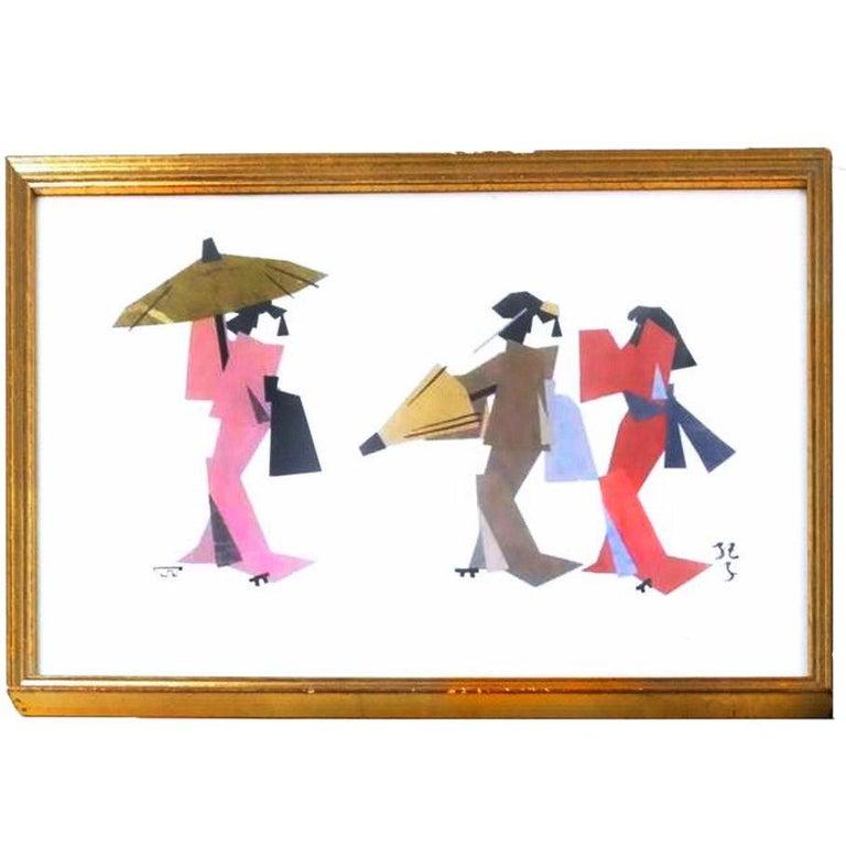 Ukiyo-E Japonisme Geisha Paper Cubist Collage, Kimono, Mid-Century Mixed Media  For Sale