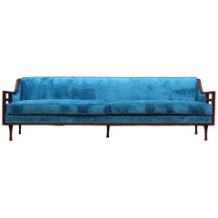 1960s Mid-Century Modern Custom Made Walnut Sofa
