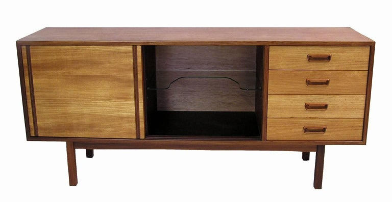 1960s Mid Century Modern Low Teak Sideboard For Sale At