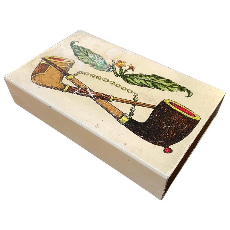 1960s Mid-Century Modern Piero Fornasetti Cigarette Box For Sale