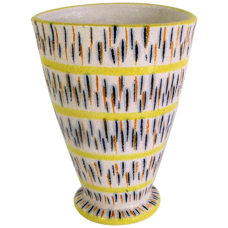 1960s Mid-Century Modern Pottery Vase Attributed to Aldo Londi for Bitossi For Sale