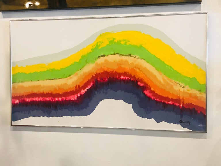 1960s Mid-Century Modern Rainbow Signed Abstract Canvas Painting by Gurrey For Sale 5