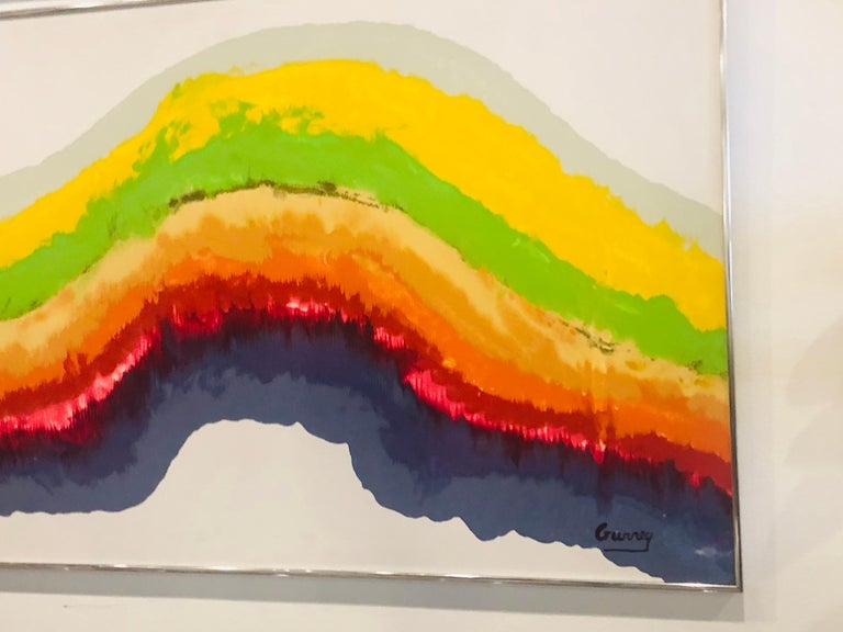 1960s Mid-Century Modern Rainbow Signed Abstract Canvas Painting by Gurrey For Sale 3