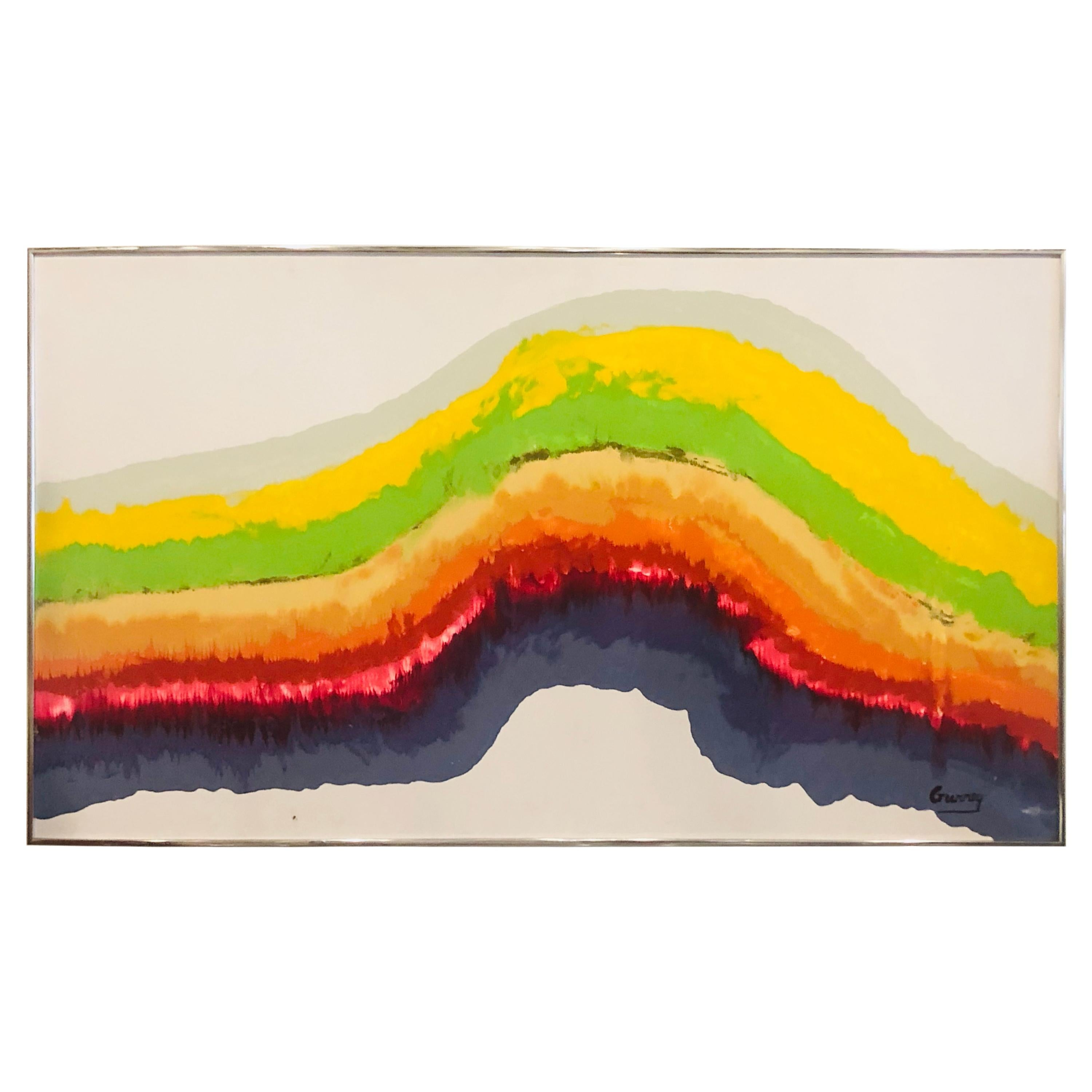 1960s Mid-Century Modern Rainbow Signed Abstract Canvas Painting by Gurrey