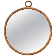 1960s Mid-Century Modern Round Bamboo Wall Mirror