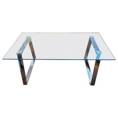 1960s Mid-Century Modern Steel and Glass Italian Coffee Table