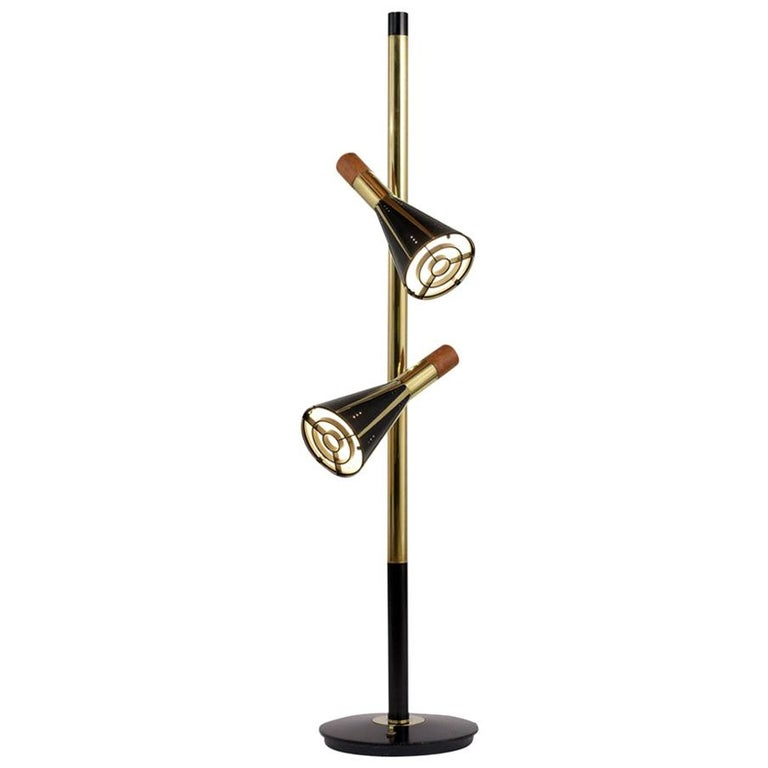 1960s Mid-Century Modern Style Double Shade Floor Lamp For
