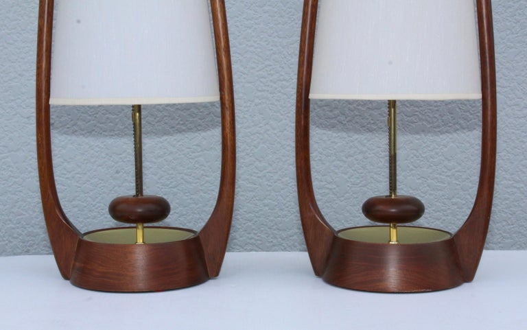 Walnut 1960s Mid-Century Modern Table Lamps by Modeline For Sale