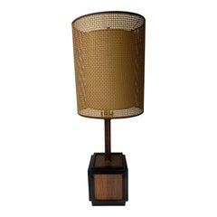 1960s Mid-Century Modern Teak Cube Table Lamp
