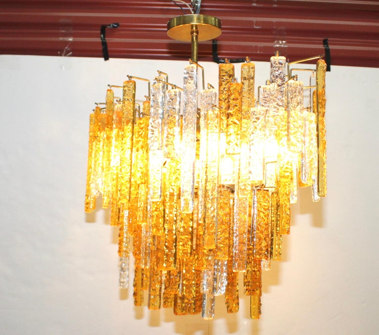 Mid-20th Century 1960s Mid-Century Modern Venini Glass Oval Chandelier For Sale