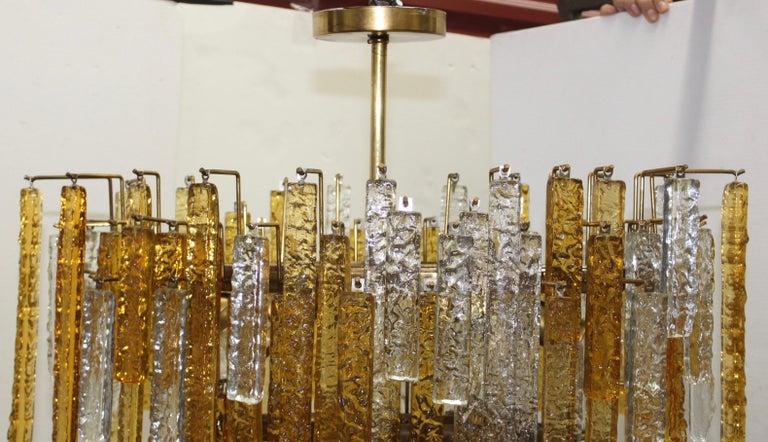 Brass 1960s Mid-Century Modern Venini Glass Oval Chandelier For Sale
