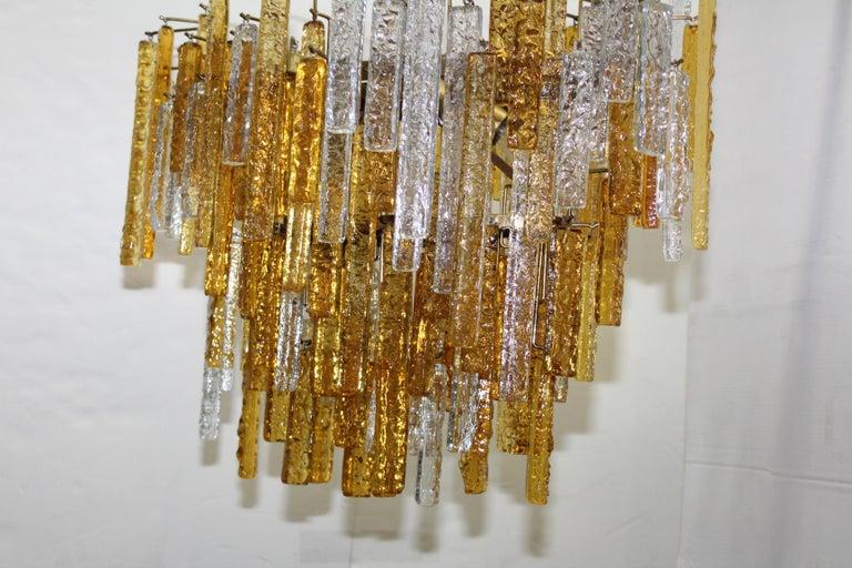 1960s Mid-Century Modern Venini Glass Oval Chandelier For Sale 2