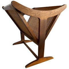 1960s Mid-Century Modern Wood Magazine Rack with Caning