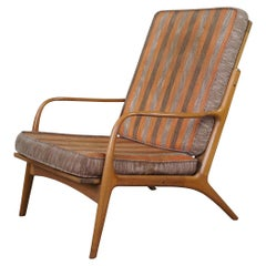 1960s Mid-Century Modern Yugoslavian Walnut Club Arm Library Lounge Chair MCM
