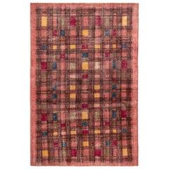 1960s Midcentury Rug Pink and Black Geometric Vintage Pattern