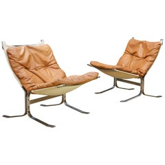 1960s Scandinavian Steel Leather Sling Lounge Chairs Mid-Century Cabinmodern