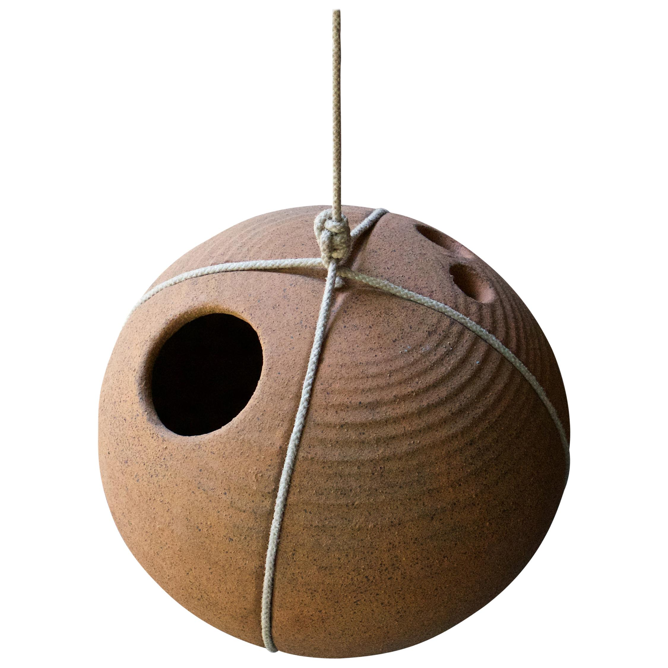 Midcentury String and Stoneware Ball Birdhouse Architectural Pottery Folk Art