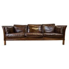 1960s Mid Century Three Seater Rich Dark Brown Leather Børge Mogensen Sofa