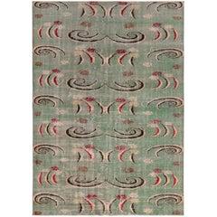 1960s Midcentury Vintage Art Deco Rug, Distressed Green Geometric Pattern