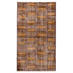 1960s Midcentury Vintage Distressed Rug Beige Brown Gold Geometric Pattern