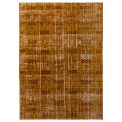1960s Midcentury Vintage Distressed Rug Beige Brown Orange Geometric Pattern