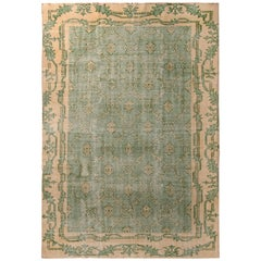 1960s Midcentury Vintage Distressed Rug Green and Beige French Country Inspired
