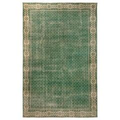 1960s Midcentury Vintage Rug Beige and Green Geometric Pattern