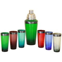 1960s Midcentury Cocktail Set in Multi-Color Glass