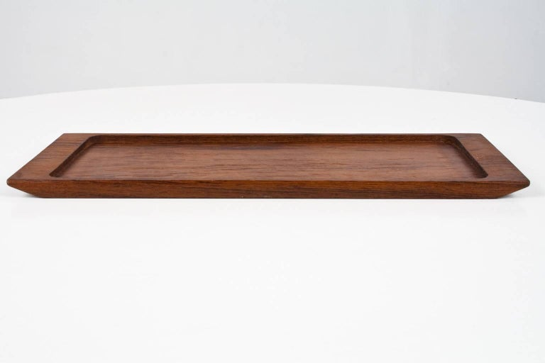 Beautiful Danish 1960s solid teak wooden desk accessory or table tray. To use for pencils, business cards or table and kitchen accessories.   The inner dimensions of the tray are 28.5 cm x 12.7 cm.