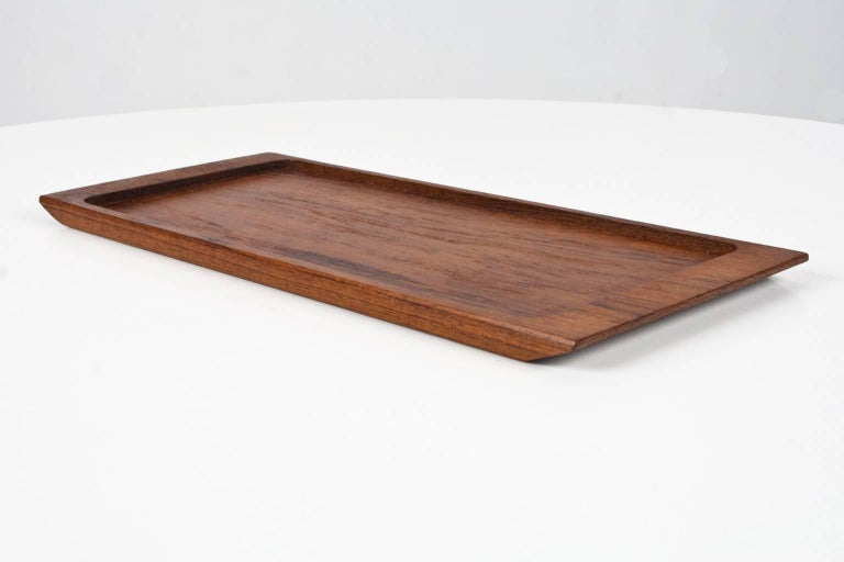 Oiled 1960s Midcentury Danish Solid Wooden Teak Desk Accessory or Table Tray For Sale