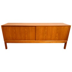 1960s Midcentury Danish Teak Sliding Door Sideboard with Square Legs