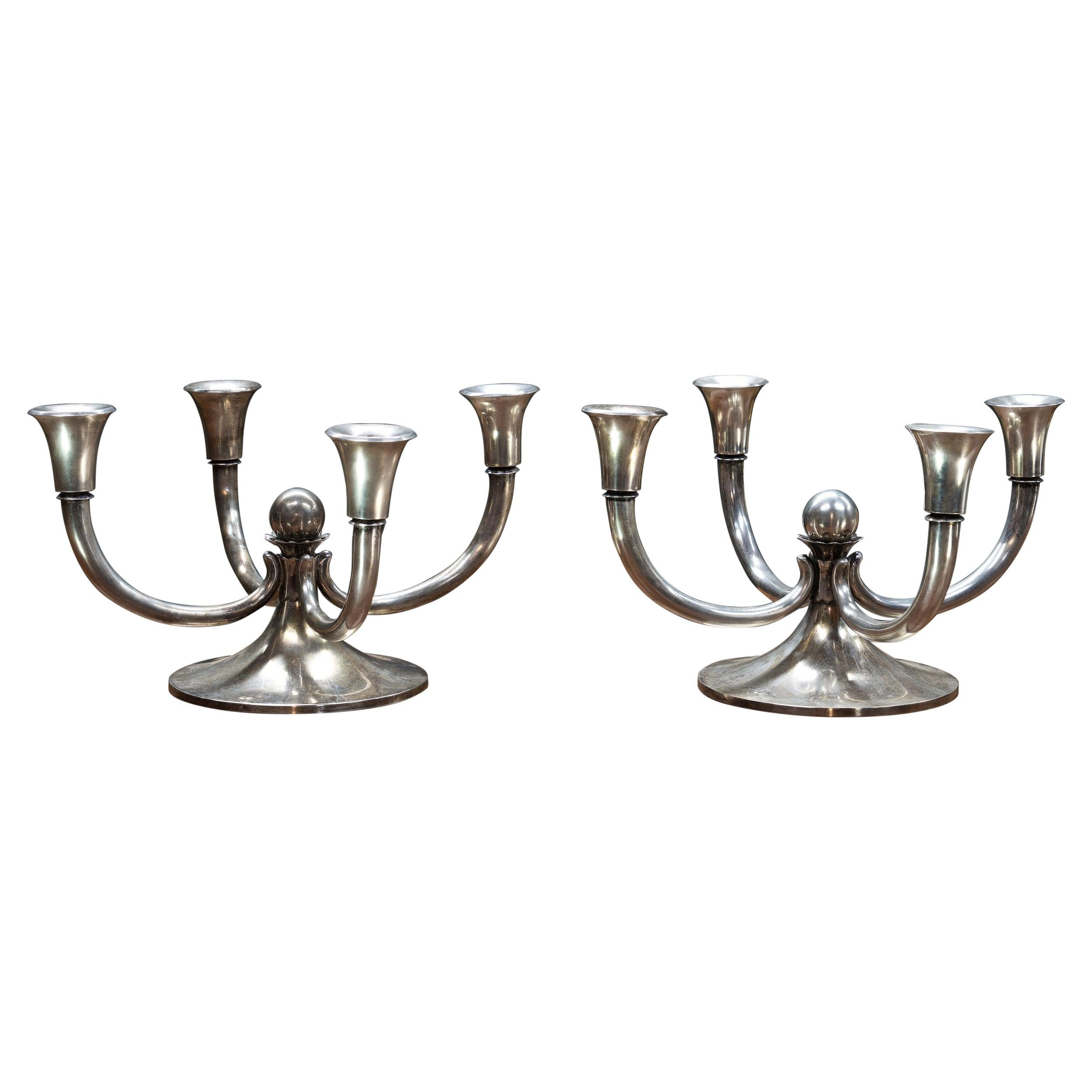 1960s Midcentury Georg Jensen Style Sterling Candelabras Candleholders
