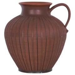 1960s Midcentury German Terracotta Striped Ceramic Vase