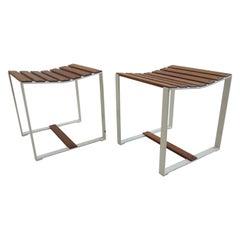 1960s Midcentury Industrial Teak and Metal Slatted Stools or Side Tables, Pair