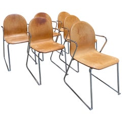 1960s Midcentury Italian Set of 6 Leather and Chrome Chairs