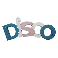 1960s Midcentury Large Industrial Metal Sign Disco, Letters