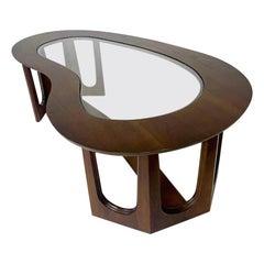 1960s Midcentury Modern Freeform Amoeba Biomorphic Glass and Wood Coffee Table