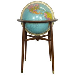 1960s Midcentury Modern Mad Men Illuminated Replogle Globe
