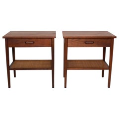 1960s Mid-Century Modern Nakashima Simple Style Walnut Nightstands with Cane USA