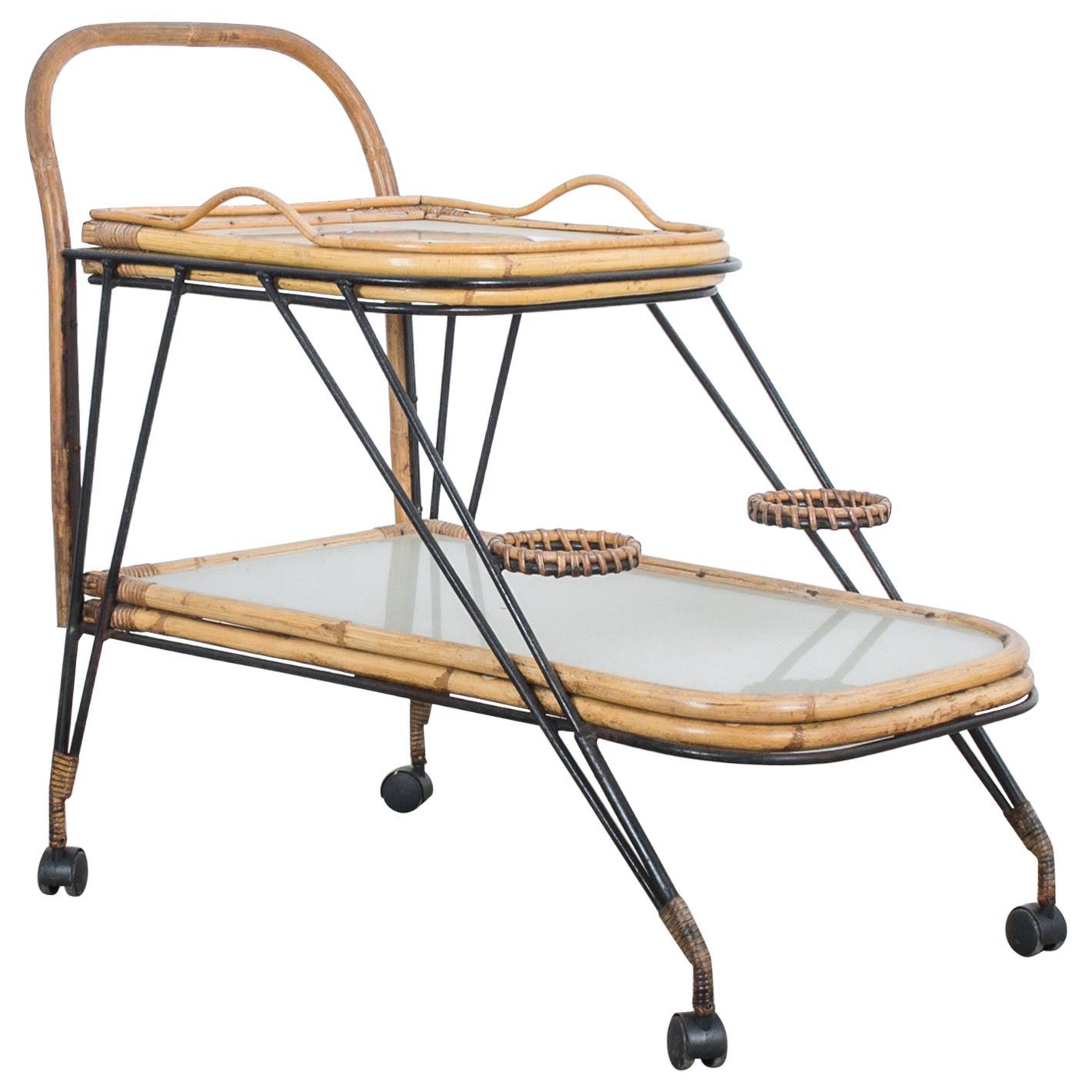 1960s Midcentury Rattan Bar Cart